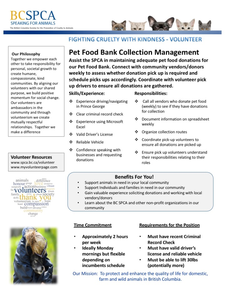Pet Food Bank Collection Management Volunteer Job Duties poster