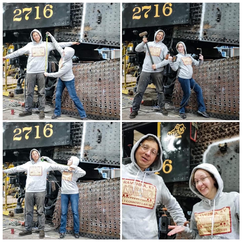 Two goofballs showcase some hoodies