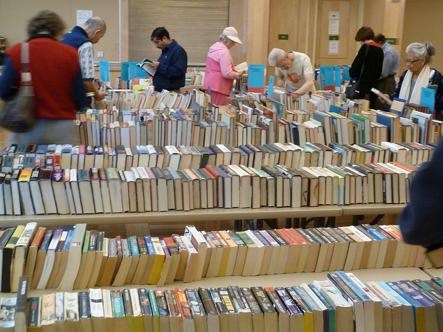 Friends of the Library book sale in community room